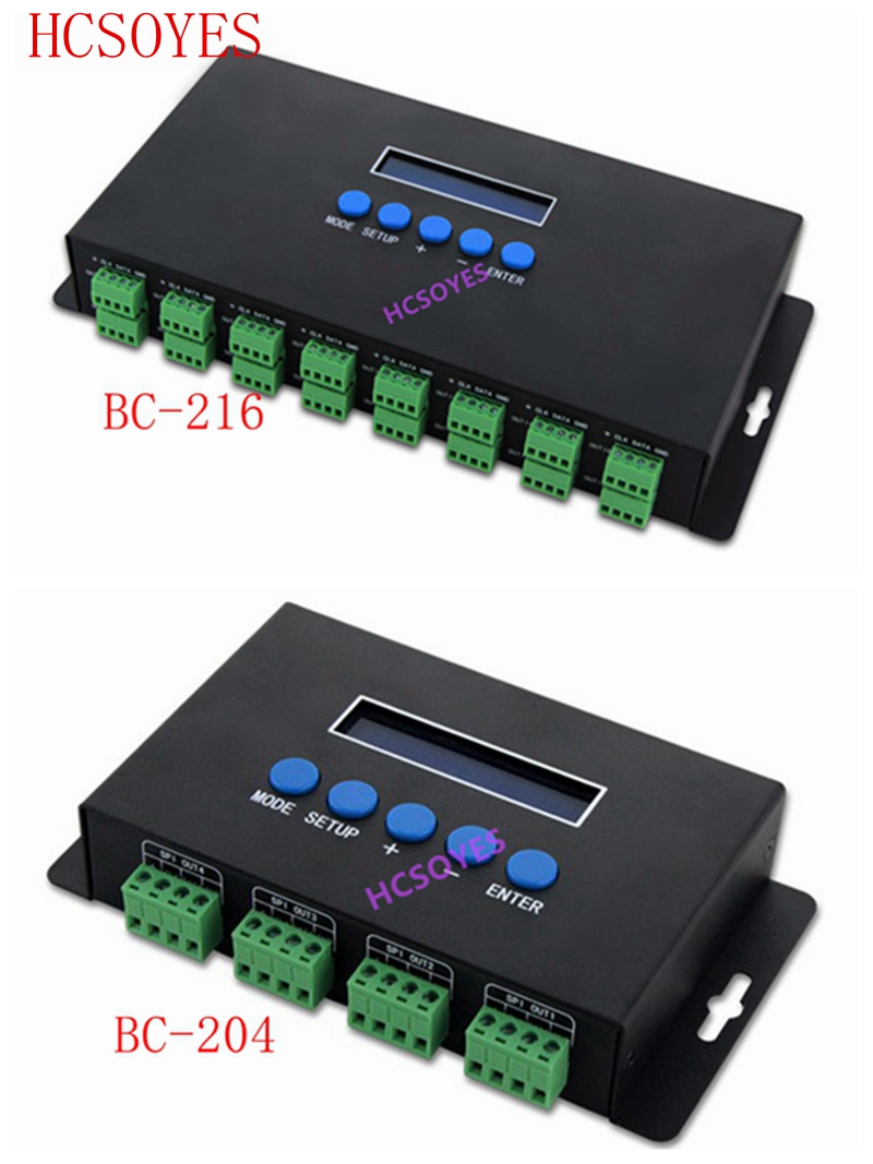 BC-216/BC-204 680 pixels * 4CH LED de contrôle Artnet au contrôleur de lumière de Pixel de SPI/DMX 340 pixels * 16CH + deux ports (2x512)