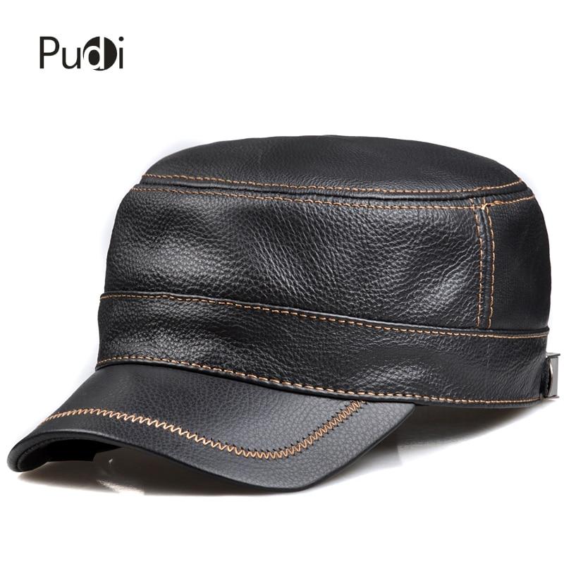 HL175 Տղամարդկանց իսկական կաշվե բեյսբոլի գլխարկ գլխարկ իրական կովի մաշկի կաշվե գլխարկ բոլորովին նոր կարգավորվող բանակային գլխարկներով գլխարկներ