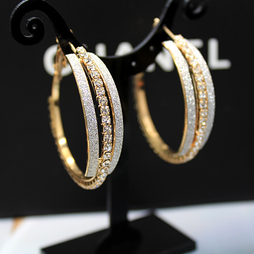 Designer Gold Hoop Earrings Gilt Rond With Crystal Stones Fashion Luxury Party For Women Unusual Gifts In From Jewelry