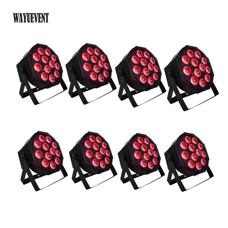 8 pièces 12*12 w lampe à led perles 12x12 W a mené des lumières RGBWA + UV 6in1 plat led dmx512 disco lumières de scène professionnel dj équipement