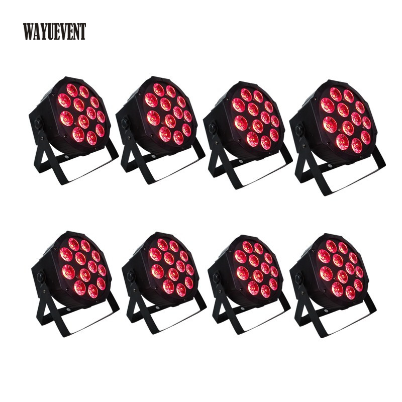 8pcs 12*12w <font><b>led</b></font> lamp beads <font><b>12x12W</b></font> <font><b>led</b></font> <font><b>Par</b></font> lights RGBWA+UV 6in1 flat <font><b>par</b></font> <font><b>led</b></font> dmx512 disco lights professional stage dj equipment image