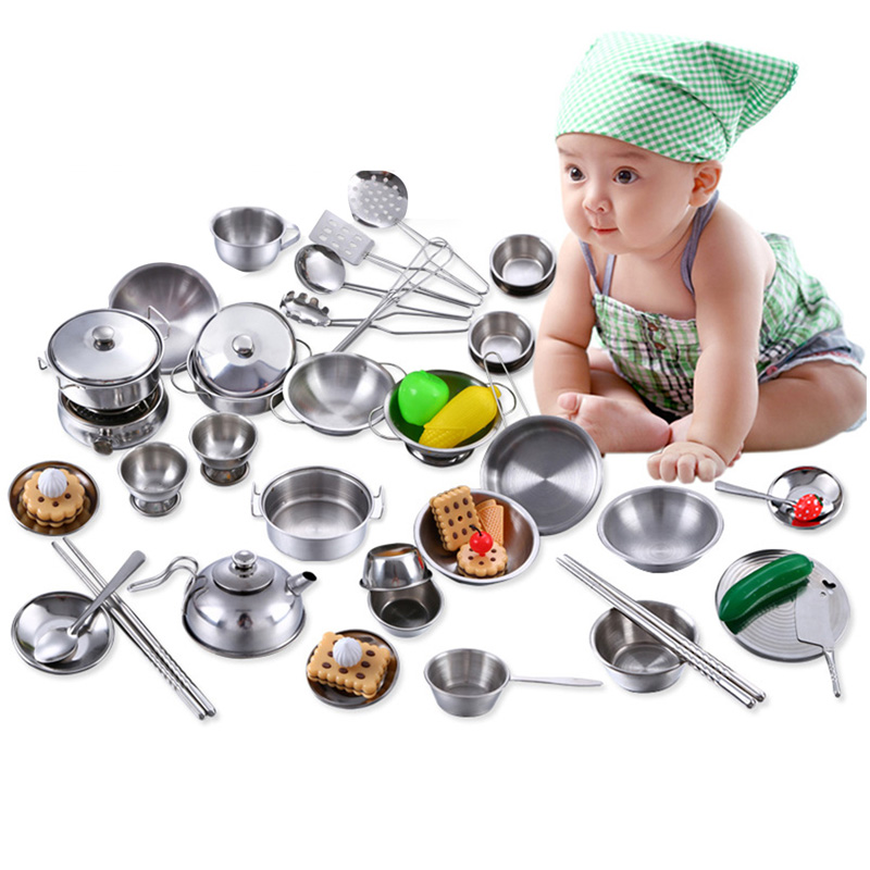 Kitchen Toys Mini Pretend Tools Set Simulation Play House Educational Stainless Steel Cooking Pots Pans Food Kids Babies Gifts