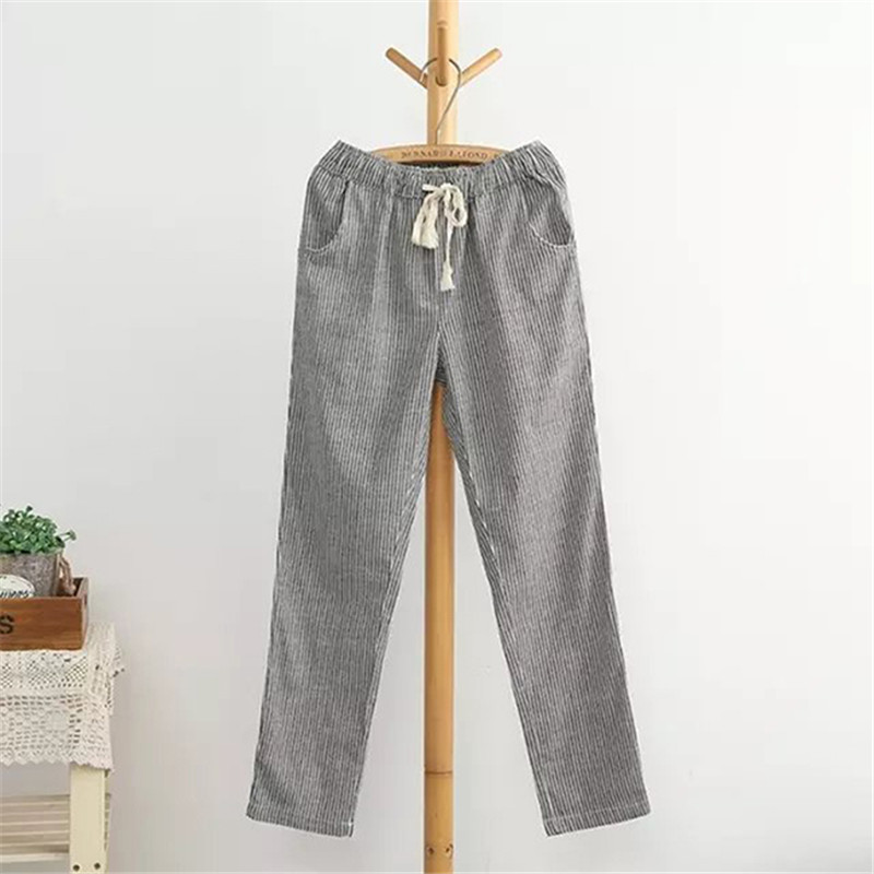 Bigsweety Cotton Linen Women Casual Pants 18 Fashion Loose Long Pants Elastic Waist Straight Striped Trousers Pantalon 3