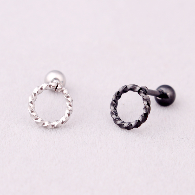Fashion Women Men Punk Round Circle Studs Silver Gold Black Titanium Steel Hemp Flowers Geometric Circle Stud Earrings Jewelry