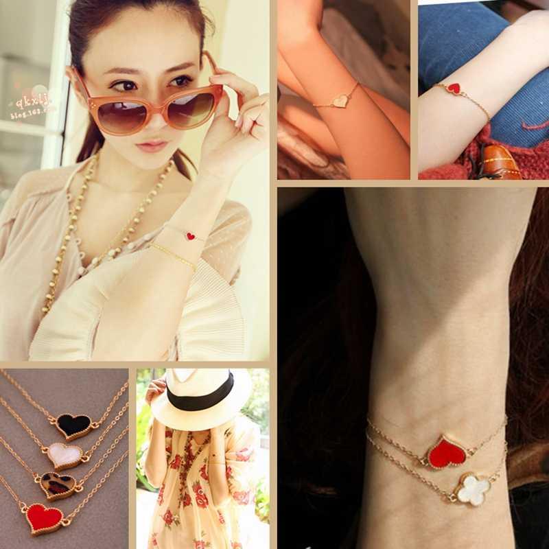 חם אופנה פשוט שחור אדום טיפת שמן פרפר לב צורת תליון זהב צבע שרשרת צמיד צמיד לנשים תכשיטי Bijoux
