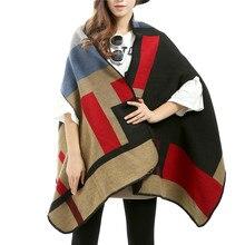 Women Autumn Winter Pashmina Imitated Cashmere Scarf Thicken Capes Plaid Scarves Long Women Shawl Poncho Feminino Inverno 012