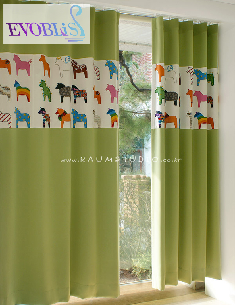 Green curtains for bedroom - Korean Style Curtains For Bedroom Cartoon Little Horse Pony Curtains For Children Cortinas Infantiles Modern Curtain