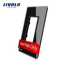 Livolo США Стандартный Роскошный Черный Кристалл Стекло, 125 мм * 78 мм, один Стекло Панель для переключатель гнездо, vl-c5-sr-12