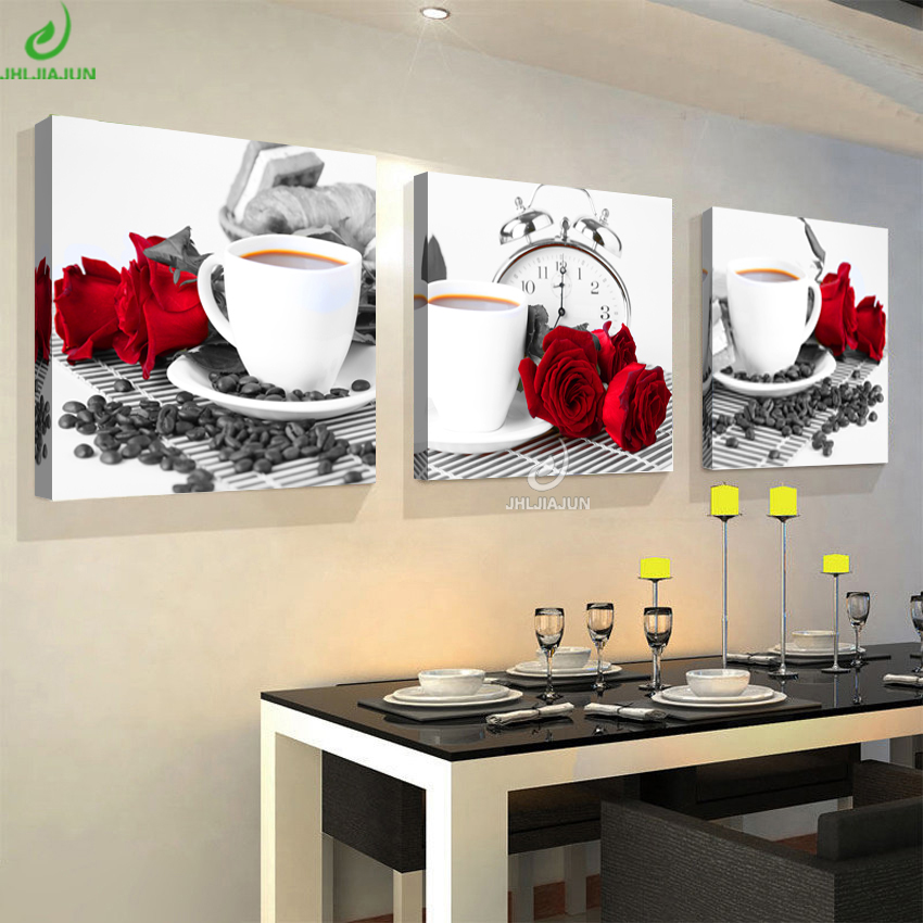 Modular Paintings For The Kitchen Print On Canvas Poster Flowers Beautiful Pictures Black And White Coffee Rose 3 Panel Canvas