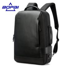 15,6 Zoll Notebook Rucksack Schwarz Kontrahier Leder Rucksack für Männer USB Lade Männlichen Reiserucksack Nylon herren rucksäcke