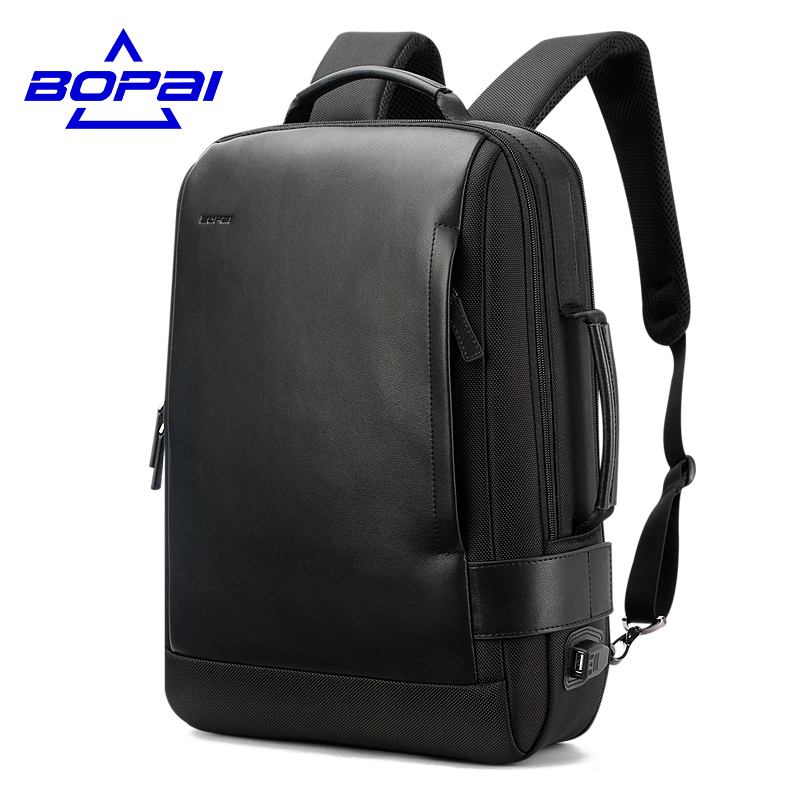 Inch Notebook Backpack Black Contractive Leather Backpack for Men USB Charging Male