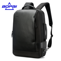 15 6 Inch Notebook Backpack Black Contractive Leather Backpack For Men USB Charging Male Travel Backpack