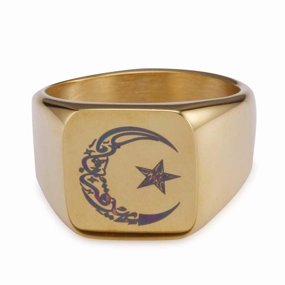 Muslim Stainless Steel Ring for Men Islam moon star Gold and silver ring