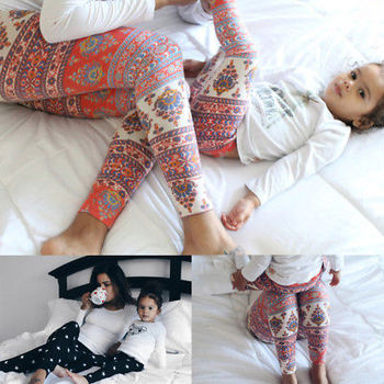 Cute Family Matching Mother and Daughter Mom Girls Baby Floral Treggings Leggings Pants telle mère telle fille vetement
