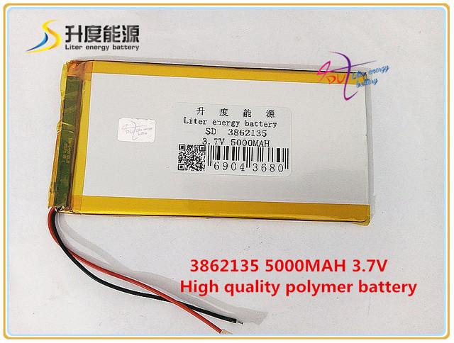 3.7 v 5000 mah 3862135 bateria de polímero de iões de lítio/bateria li-ion para banco de potência tablet pc mp4 gps onda pipo cubo