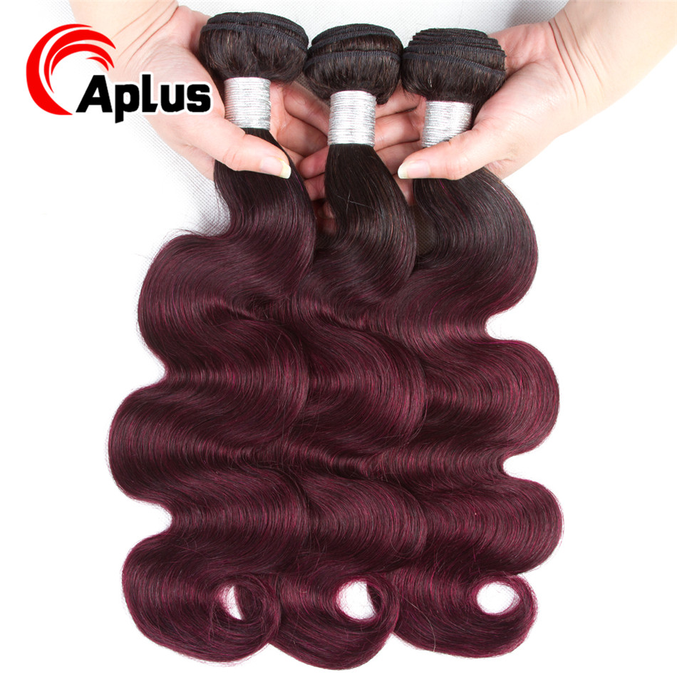 Aplus Hair Brazilian Body Wave Ombre Pre-colored 1b 99j Hair Human Hair Weave Bundle Deals 3PCS Non-Remy Hair Free Shipping