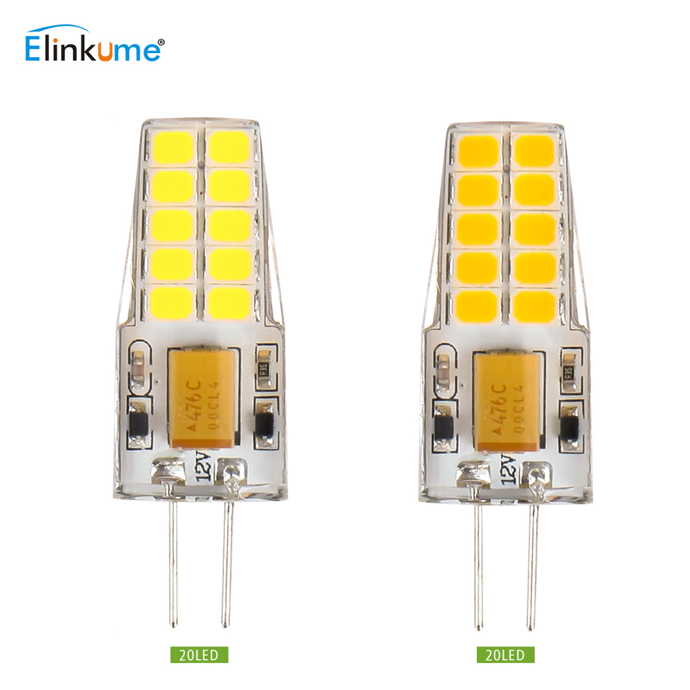 Elinkume G4 LED Light Bulb AC/DC 12V 2835SMD 10 20LEDs 2W 3W 5pcs/10pcs Corn Bulb Brightness LED Spotlight Warm/Cold White Lamp