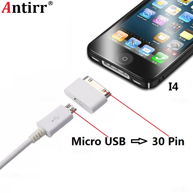 Micro USB to <font><b>30</b></font> <font><b>Pin</b></font> Charger <font><b>Adapter</b></font> For Apple iPhone 4 4s ipad 1 2 ipod Microusb 5Pin to 30Pin adaptor Connector image