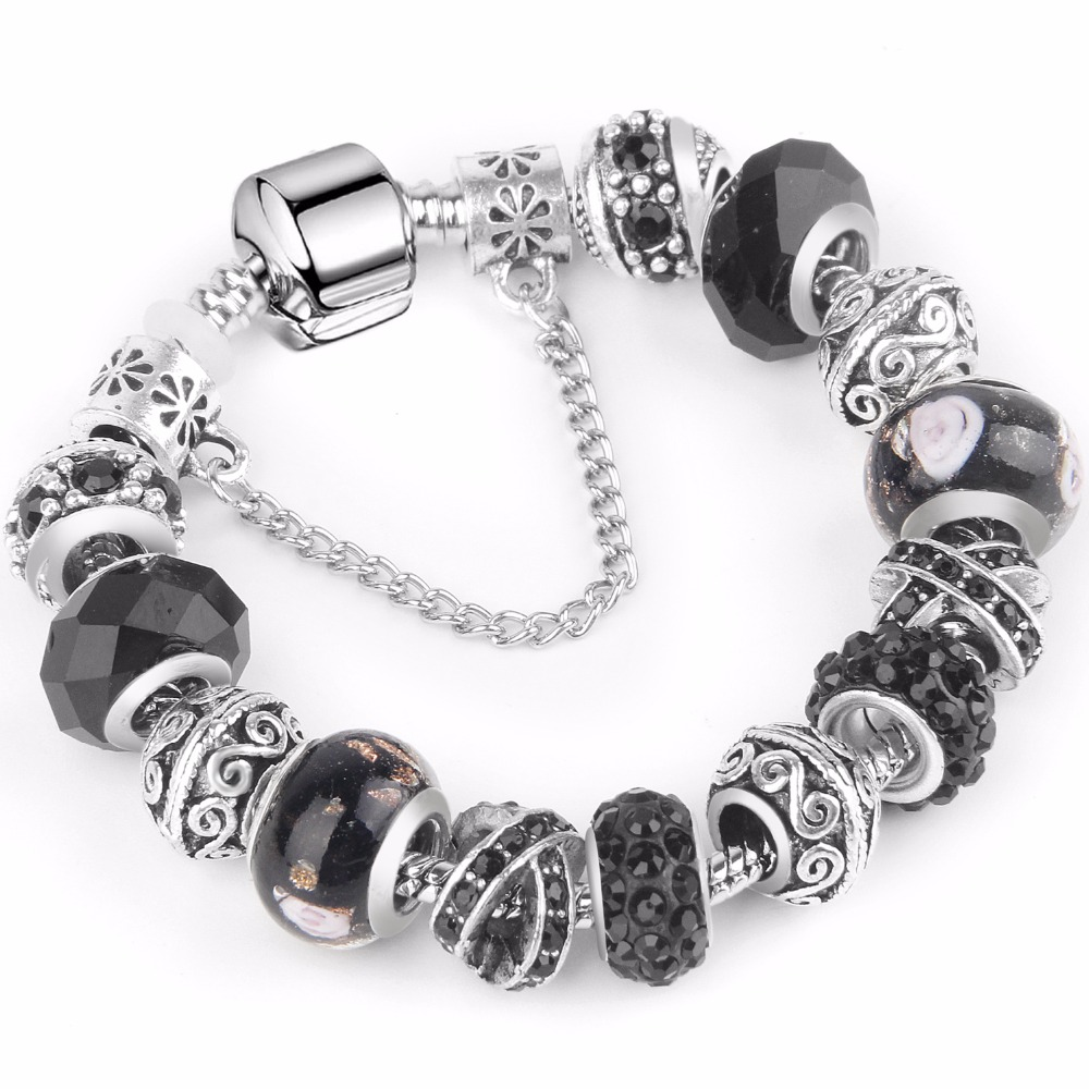 cde748a1742a5 IF ME Vintage DIY Crystal Glass Beads Charms Bracelets For Women ...
