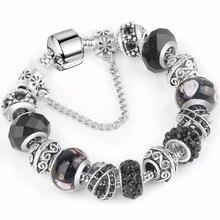 Ювелирные изделия европейский шарм браслеты для женщин 925 покрытием серебряные цепи браслеты& браслеты DIY ювелирные изделия