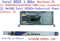 1U сервер брандмауэра Atom D525 dual core 1,8 ГГц 4 * Intel 82538 В 1000 м поддержка pfSense, WayOS, IPFire и т. д.