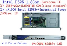 1U firewall server Atom D525 dual core 1,8 GHz 4 * Intel 82538 V 1000 M unterstützung pfSense, wayOS, IPFire, etc.(China)