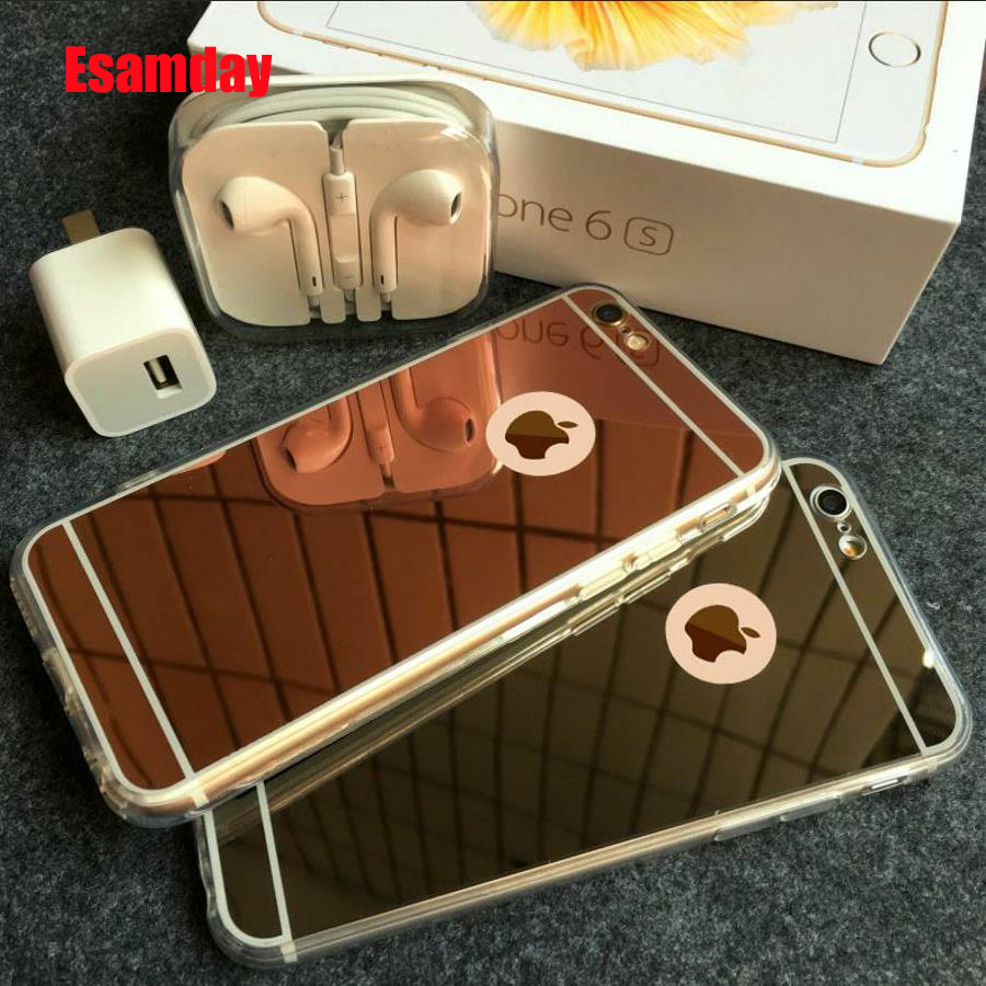 Esamday Luxury Mirror Electroplating Soft Tpu-fodral för X XS MAX XR 7 8 6 6S Plus Skyddfodral för iPhone 5 5s SE