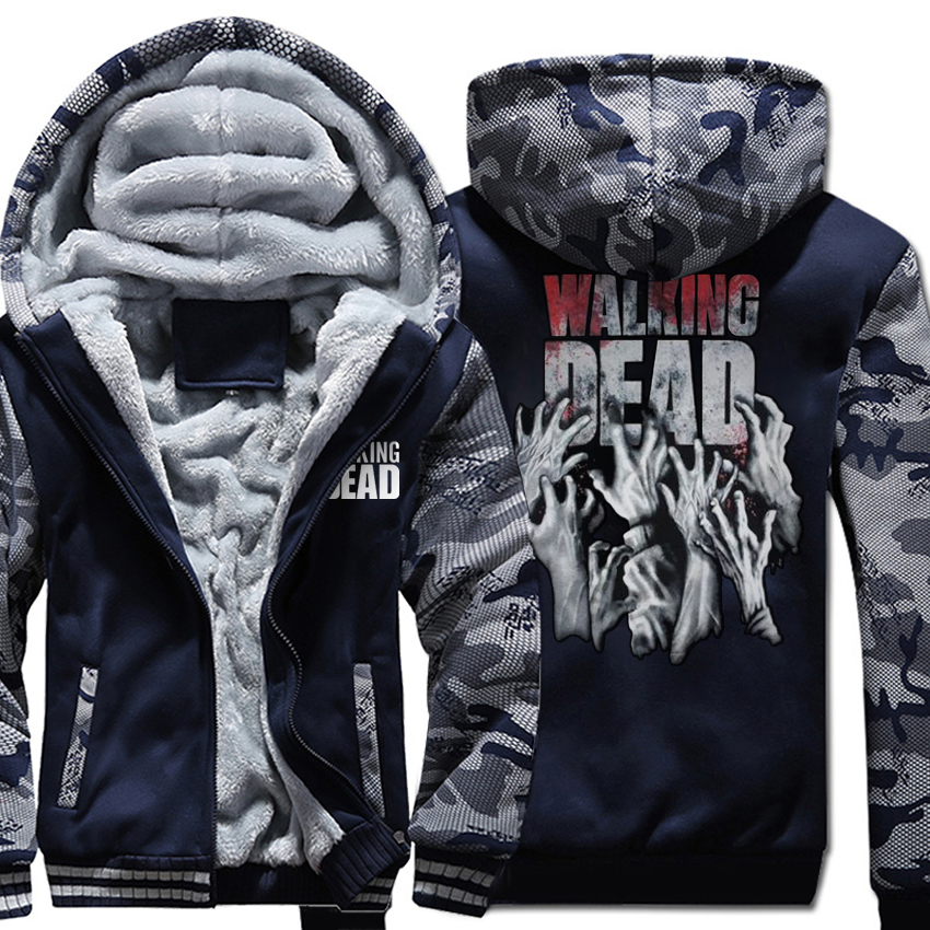 Camouflage Color Hoodies The Walking Dead Hooded Men Wool Liner Thicken Zipper Jacket Wings Coat 2019 Male Hands Scary Tracksuit