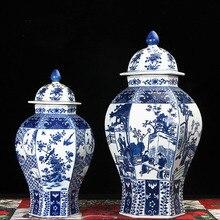 Китайский античный стиль синяя и белая керамическая фарфоровая ваза имбирь банка для украшения дома