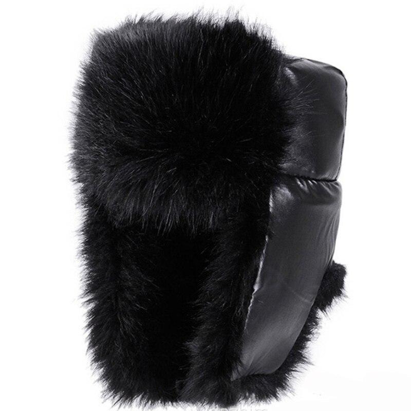 Winter Hats Ushanka Russian-Hat Earflap Trapper Black Thick Warm Fur Men for Windproof