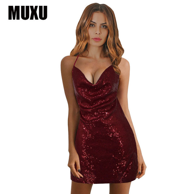 MUXU new sexy fashionable dresses summer sleeveless womens clothing party  suspender dress sequin glitter jurk club backless 2018 d4f4ebbea7d8