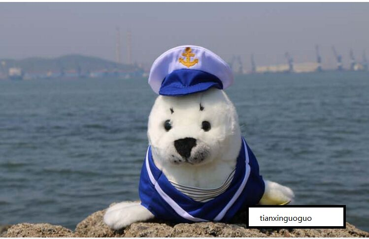 new plush high quality seal toy plush the navy dress seal doll about 40cm middle lovely plush high quality seal toy cute white seal doll gift about 35cm