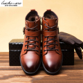Top Quality Genuine Leather Men Snow Boots Winter Warm Comfortable Velvet Belt Black Brown Man Shoes Ankle Lace Up Male bota