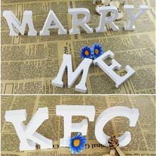Hot Sale 8*1.2cm Wooden Letter Numbers Craft White Wood English Alphabet Vintage Home Decor Shooting Props Party Event Supplies
