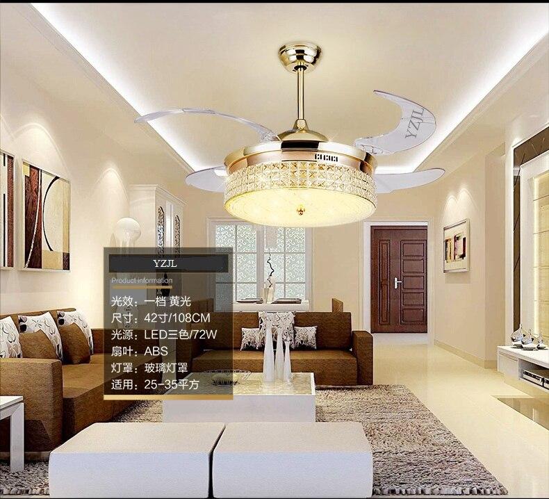 Online Lampu Kristal Fan 42 Inch Sederhana Yang Modern Chandelier Ruang Makan Tamu Dalam Ruangan Led Dengan Remote Control