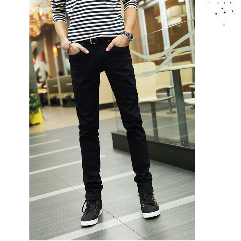 Fashion 2018 Indoor Casual Skinny Jeans Men Black Teenagers Pencil Pants Stretch Casual Leg Pants Boys Hip Hop Student Trousers
