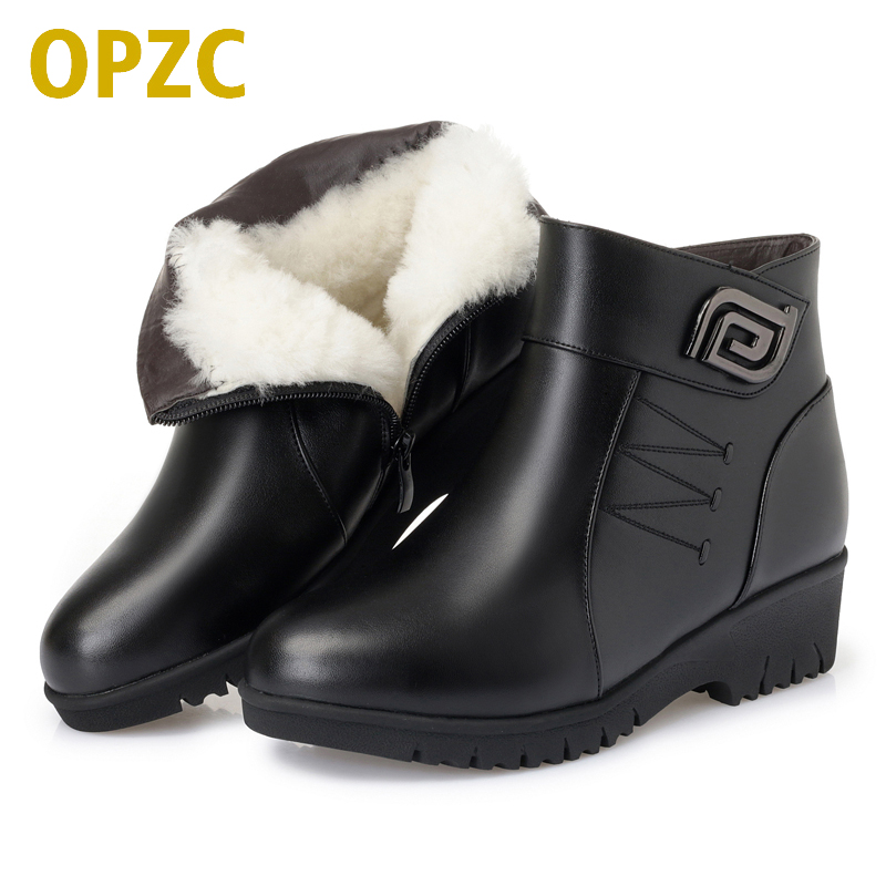 OPZC Women naked boots 2018 new genuine leather female snow boots, big size 43 thick wool boots women, flat mother winter shoes aiyuqi 2018 new women s genuine leather shoes casual flat bottom breathable wear comfortable mother shoes female size 41 42 43