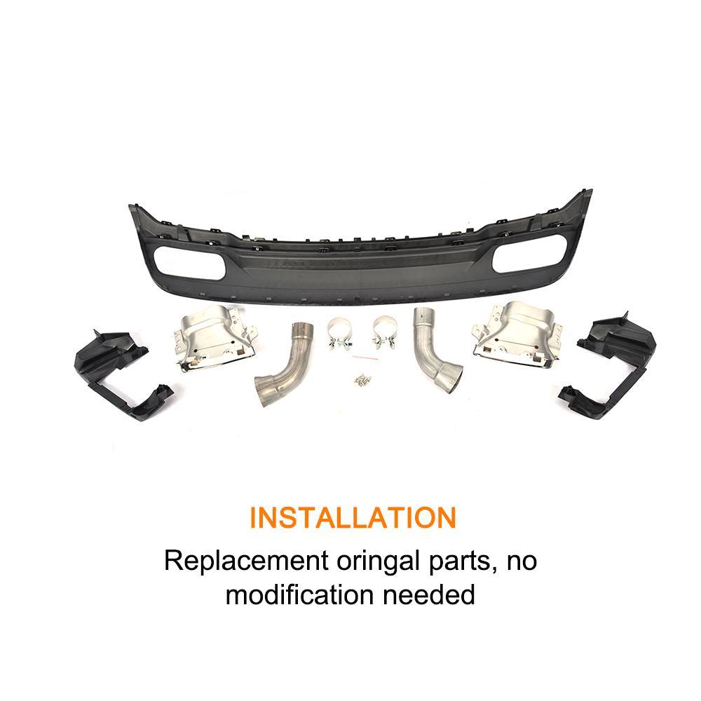 Автомобильный Стиль полипропилен+ нержавеющая сталь заднего бампера для губ Диффузор с выхлопные трубы для Mercedes Benz A260 A45