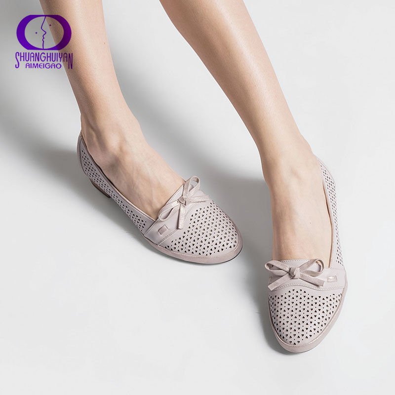 AIMEIGAO Big Size Women Sandals PU Soft Leather Low Heels Comfortable Shoes Elegant Bow Tie Summer Shoes High Quality
