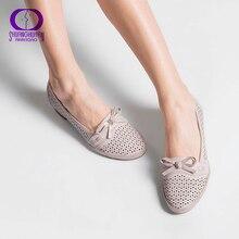 Aimeigao sandálias femininas tamanho grande couro macio do plutônio sapatos de salto baixo confortáveis elegante gravata borboleta sapatos de verão alta qualidade