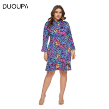 DUOUPA Spring and Summer Europe Large Size Womens V-neck Bow Leopard Ruffled Midi Dress SQ0118