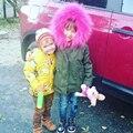 Forro de Pele De Raposa Destacável Casacos Buenos Ninos Crianças Criança casaco de pele genuína de pele real parka exteriores-30 graus