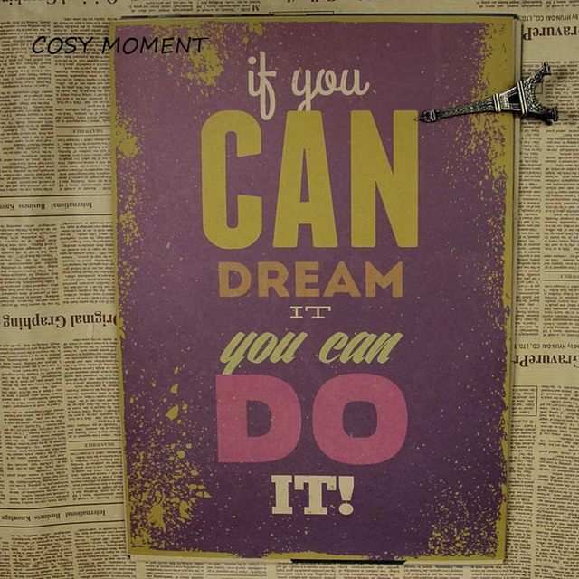 cosy moment inspirational words quote poster you can do it vintage