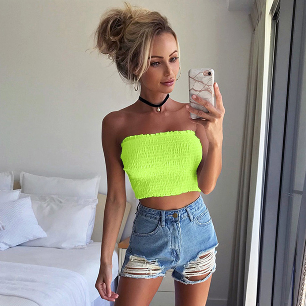 Women Summer Letter Print Boob Tube Tops Sexy Strapless Crop Top Off Shoulder Bandeau Top Ladies Streetwear Neon Green Wrap Top Underwear & Sleepwears