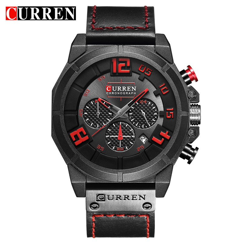 CURREN Military Sport Style Multifunction Genuine Belt Mens Black Red Wristwatch Men Quartz Watch Top Brand Male Clock