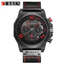 CURREN Military Sport Style Multifunction Genuine Belt Mens Black Red Military Wristwatch Men Quartz Watch Top Brand Male Clock все цены