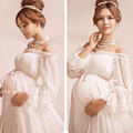 New Royal Style White Maternity Lace Dress Pregnant Photography Props Pregnancy maternity photo shoot long dress Nightdress