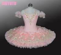 2014 New Arrival Light Pink Ballet Tutu Classical Ballet Tutu With Flowers On The Top Layer