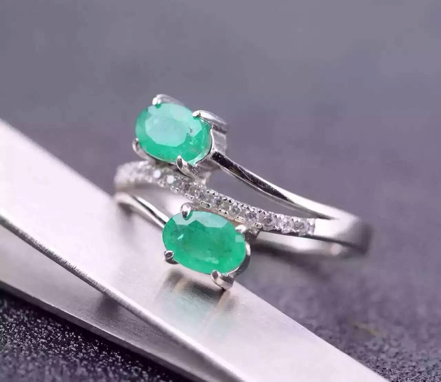 Natural green emerald Ring Natural gemstone Ring S925 sterling silver trendy Elegant round Couple lover women party gift Jewelry
