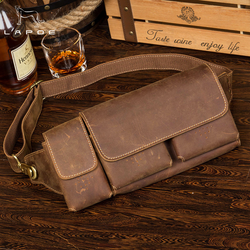 LAPOE Genuine Leather Waist Packs Fanny Pack Belt Bag Phone Pouch Bags Travel Waist Pack Male Small Waist Bag Leather Pouch universal waist belt bag pouch outdoor tactical holster military molle hip purse phone case
